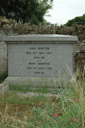John Newton's grave is in the back corner of the Olney Church yard.
